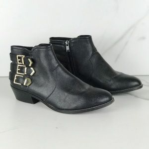 Aldo Black Faux Leather Gold Buckle Ankle Booties